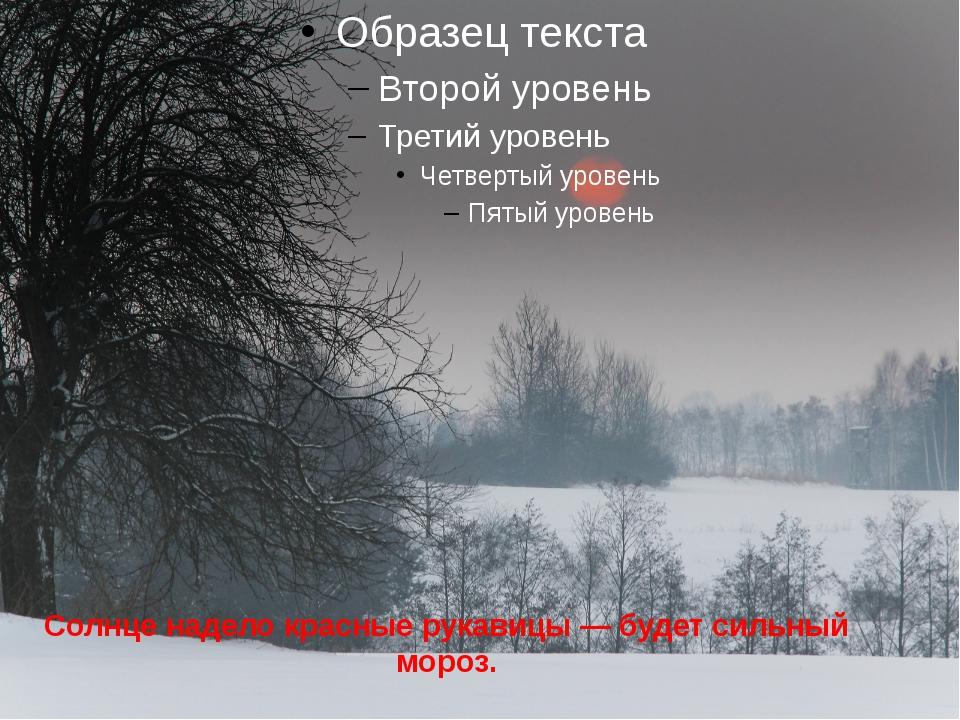 Солнце надело красные рукавицы — будет сильный мороз.