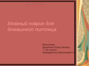 Вязаный коврик для домашнего питомца МОБУ СОШ №5 Выполнила: Даниленко Юлия уч