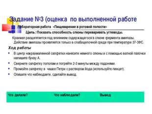Задание №3 (оценка по выполненной работе Лабораторная работа «Пищеварение в