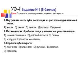 УЭ-4 Задание №1 (6 баллов) Цель:Определить уровень усвоения изученного матери