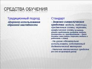 Традиционный подход -Широкое использование образной наглядности Стандарт - Зн