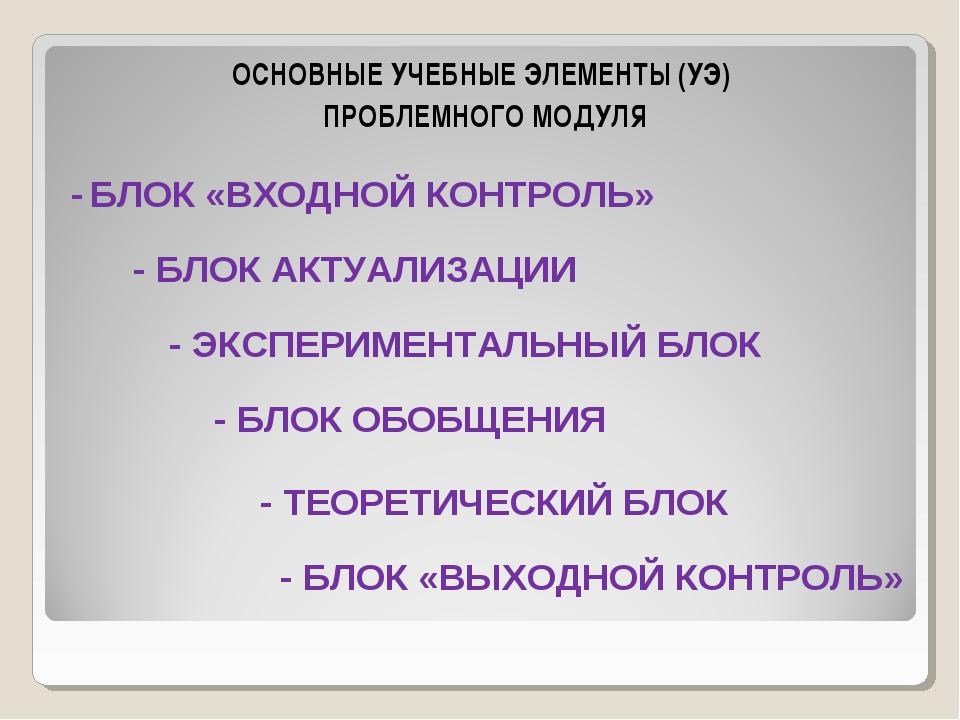 ОСНОВНЫЕ УЧЕБНЫЕ ЭЛЕМЕНТЫ (УЭ) ПРОБЛЕМНОГО МОДУЛЯ - БЛОК «ВХОДНОЙ КОНТРОЛЬ» -...