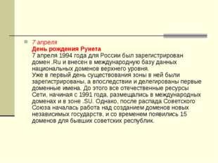 7 апреля День рождения Рунета 7 апреля 1994 года для России был зарегистриров