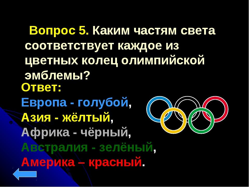 Вопрос 5. Каким частям света соответствует каждое из цветных колец олимпийск...