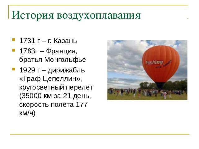 История воздухоплавания 1731 г – г. Казань 1783г – Франция, братья Монгольфье...