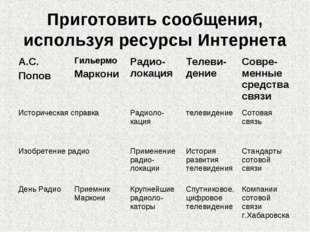 Приготовить сообщения, используя ресурсы Интернета А.С. ПоповГильермо Маркон