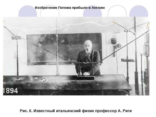 Изобретение Попова прибыло в Англию Рис. 6. Известный итальянский физик профе...