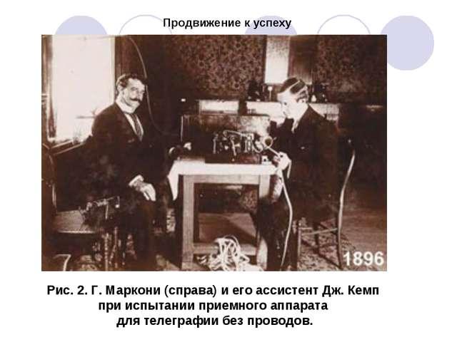 Продвижение к успеху Рис. 2. Г. Маркони (справа) и его ассистент Дж. Кемп при...