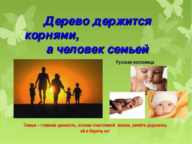 Дерево держится корнями, а человек семьей Русская пословица Семья – главная ц...