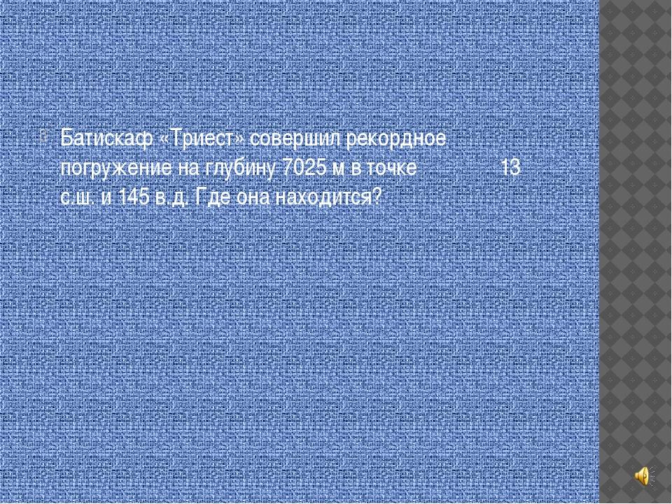 Батискаф «Триест» совершил рекордное погружение на глубину 7025 м в точке 13...
