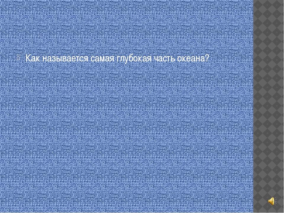 Как называется самая глубокая часть океана?
