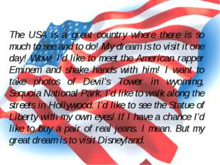 The USA is a great country where there is so much to see and to do! My dream