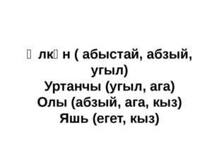 Өлкән ( абыстай, абзый, угыл) Уртанчы (угыл, ага) Олы (абзый, ага, кыз) Яшь (