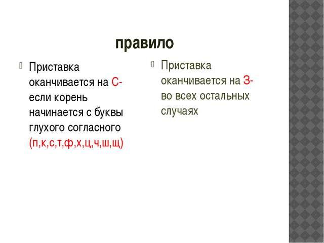 правило Приставка оканчивается на С- если корень начинается с буквы глухого с...