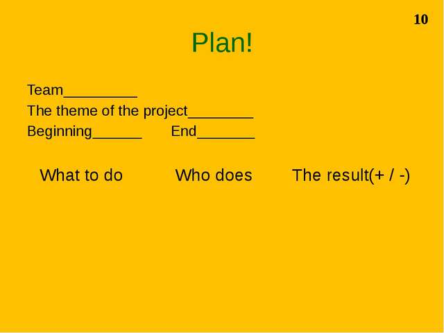 Plan! Team_________ The theme of the project________ Beginning______ End_____...