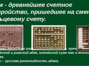 Абак - древнейшее счетное устройство, пришедшее на смену пальцевому счету. И