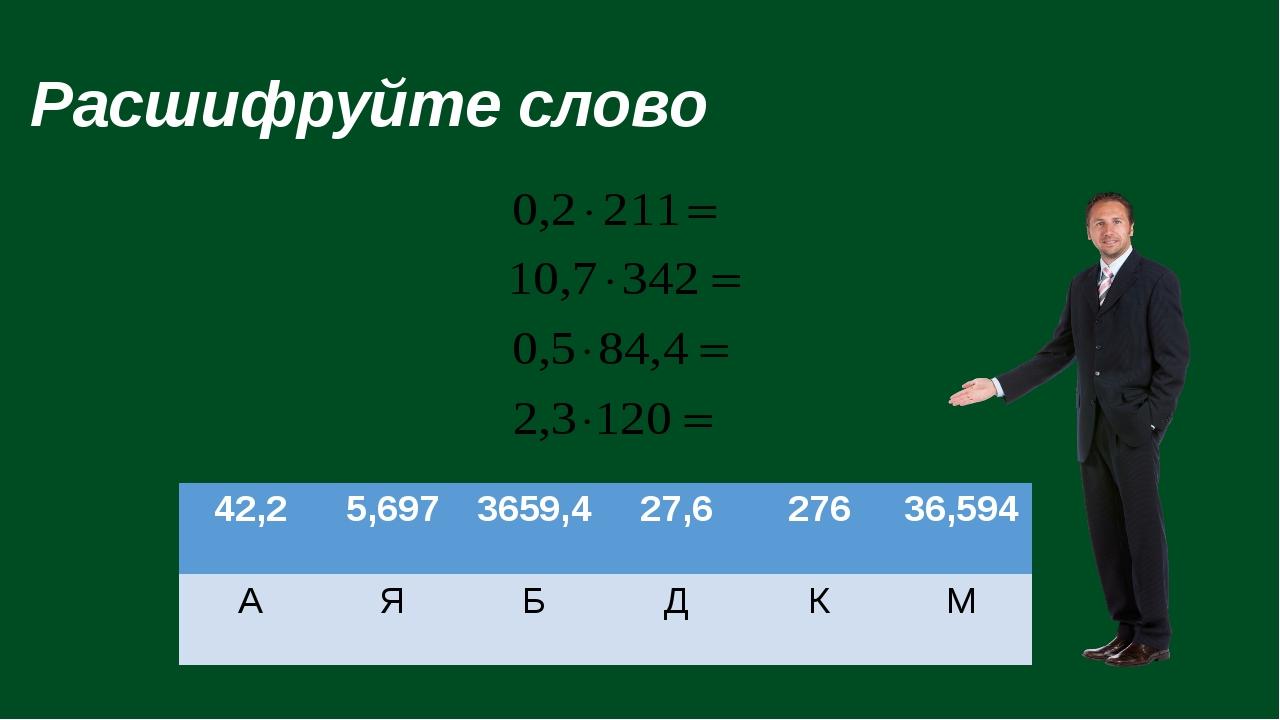 Расшифруйте слово 42,2 5,697 3659,4 27,6 276 36,594 А Я Б Д К М
