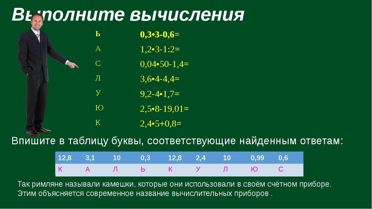 Выполните вычисления Впишите в таблицу буквы, соответствующие найденным отве...