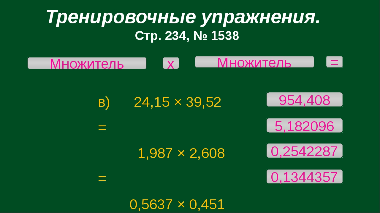 Тренировочные упражнения. Стр. 234, № 1538 в) 24,15 × 39,52 = 1,987 × 2,608 =...