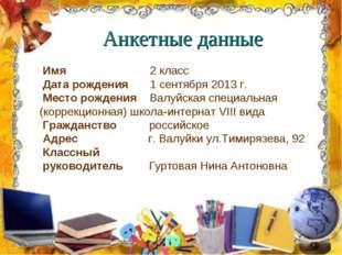 Анкетные данные Имя  2 класс Дата рождения 1 сентября 2013 г. Место рожд
