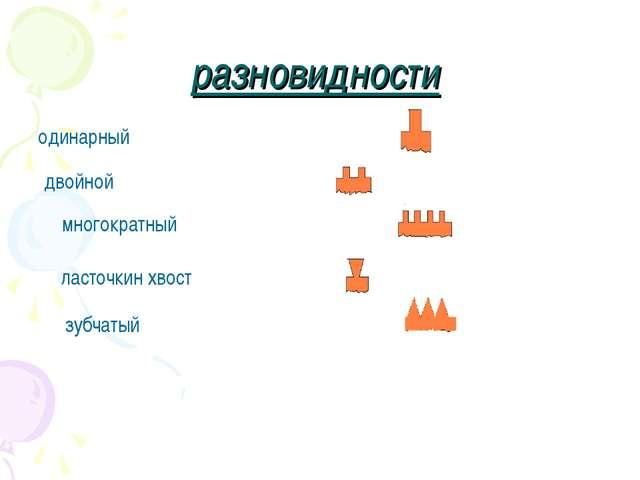 разновидности одинарный двойной многократный ласточкин хвост зубчатый