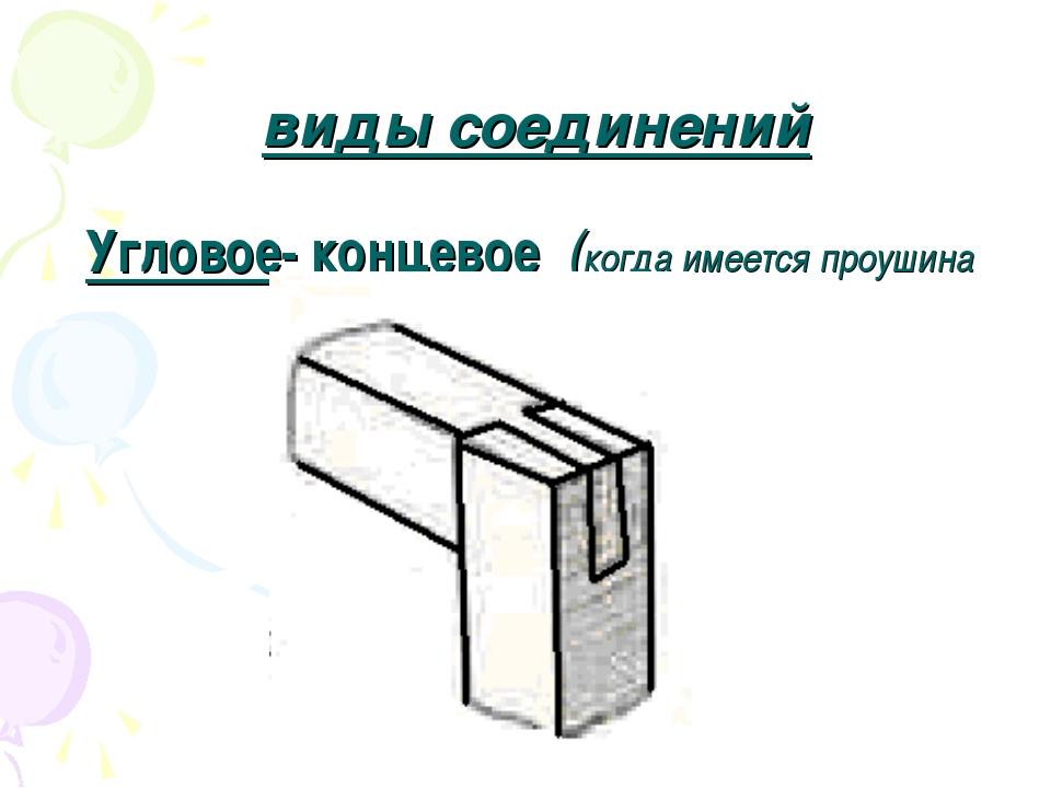виды соединений Угловое- концевое (когда имеется проушина