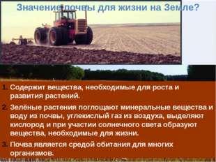 Значение почвы для жизни на Земле? Содержит вещества, необходимые для роста и