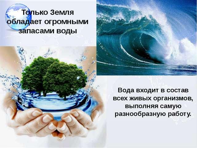 Только Земля обладает огромными запасами воды Вода входит в состав всех живых...