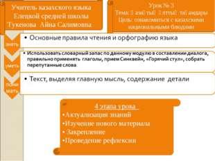 Учитель казахского языка Елецкой средней школы Тукенова Айна Салимовна Урок №