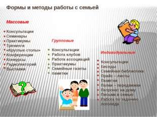 Формы и методы работы с семьей Массовые Консультации Семинары Практикумы Трен