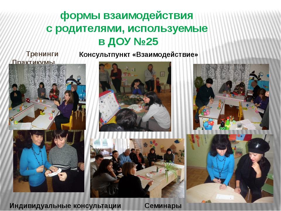 Тренинги Практикумы формы взаимодействия с родителями, используемые в ДОУ №2...