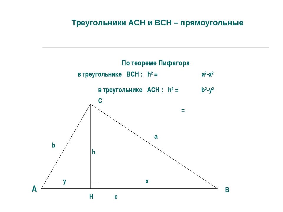 Треугольники АCН и ВСН – прямоугольные По теореме Пифагора в треугольнике ВС...