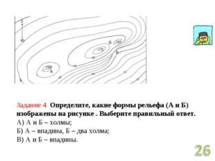Задание 4 Определите, какие формы рельефа (А и Б) изображены на рисунке . Выб