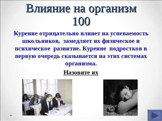 Влияние на организм 100 Курение отрицательно влияет на успеваемость школьнико...
