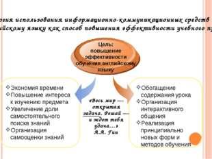 Технология использования информационно-коммуникационных средств обучения англ