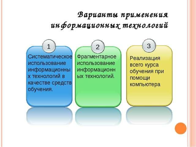 Варианты применения информационных технологий Систематическое использование и...