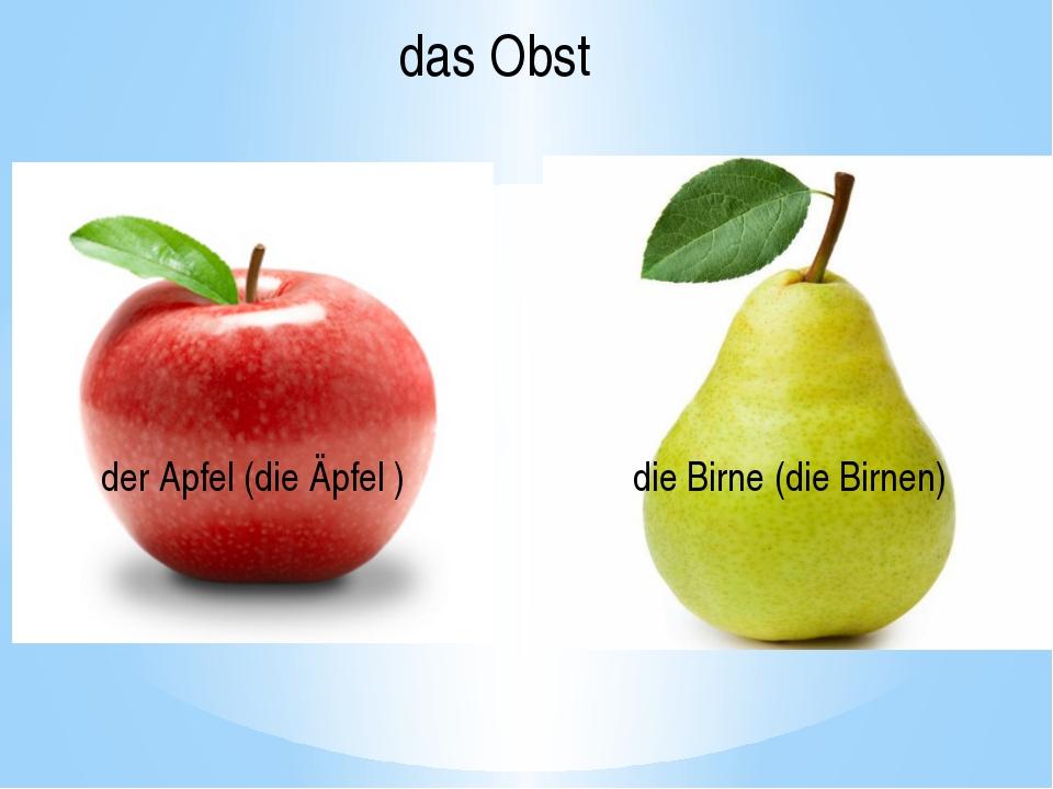 der Apfel (die Äpfel ) die Birne (die Birnen) das Obst