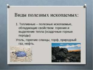 Виды полезных ископаемых: 1. Топливные – полезные ископаемые, обладающие свой