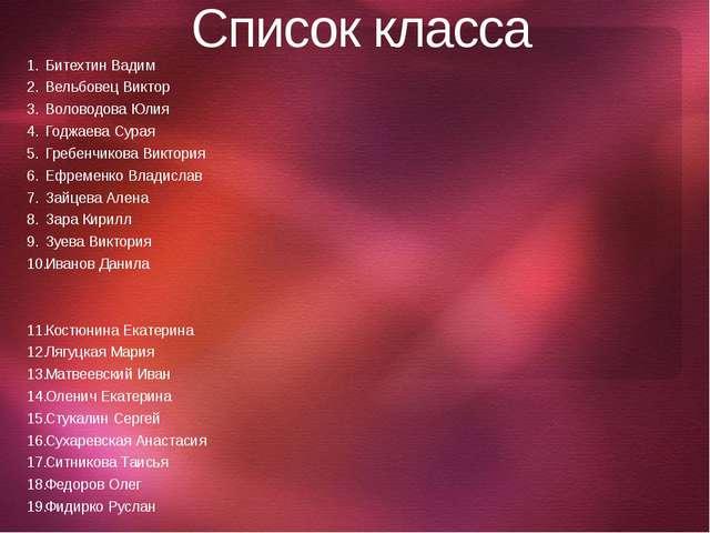 Список класса Битехтин Вадим Вельбовец Виктор Воловодова Юлия Годжаева Сурая...