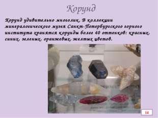 Корунд Корунд удивительно многолик. В коллекции минералогического музея Санкт