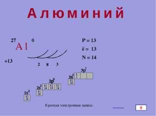Алюминий Al 27 +13 0 2 8 3 P = 13 e = 13 N = 14 − Краткая электронная запись: