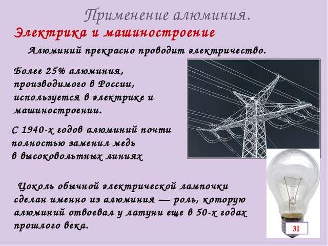 Применение алюминия. Алюминий прекрасно проводит электричество. Электрика и м...