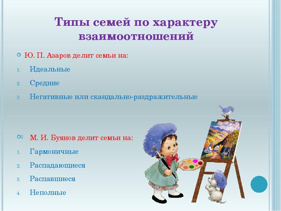 Типы семей по характеру взаимоотношений Ю. П. Азаров делит семьи на: Идеальны...