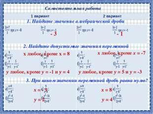 Самостоятельная работа 1. Найдите значение алгебраической дроби 2. Найдите до