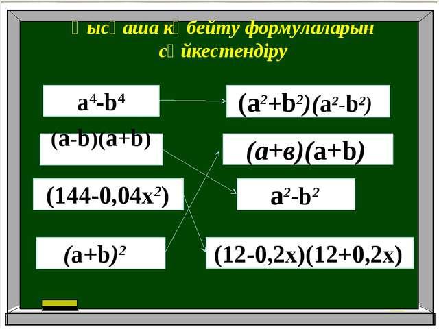 Қысқаша көбейту формулаларын сәйкестендіру а4-b4 (12-0,2х)(12+0,2х) (a-b)(a+b...