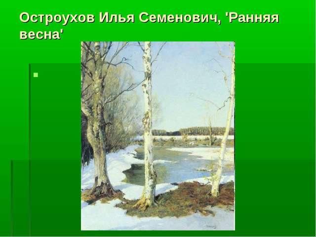 Остроухов Илья Семенович, 'Ранняя весна'