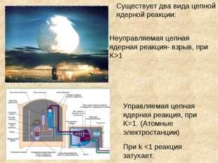Существует два вида цепной ядерной реакции: Неуправляемая цепная ядерная реак