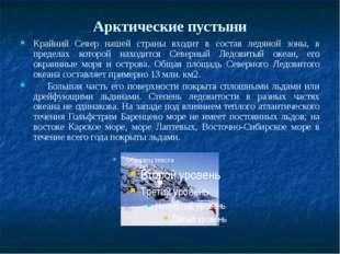 Арктические пустыни Крайний Север нашей страны входит в состав ледяной зоны,