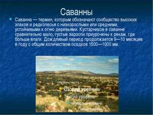 Саванны Саванна — термин, которым обозначают сообщество высоких злаков и редк