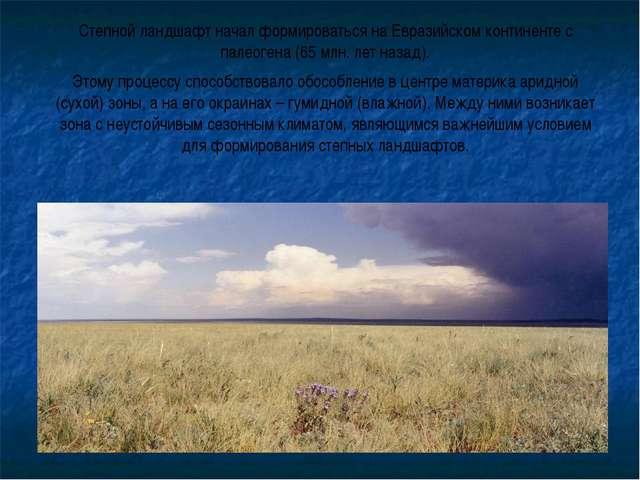 Степной ландшафт начал формироваться на Евразийском континенте с палеогена (6...
